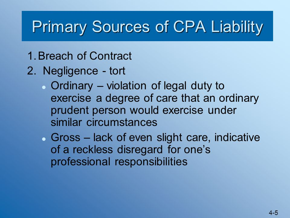 Primary Sources of CPA Liability