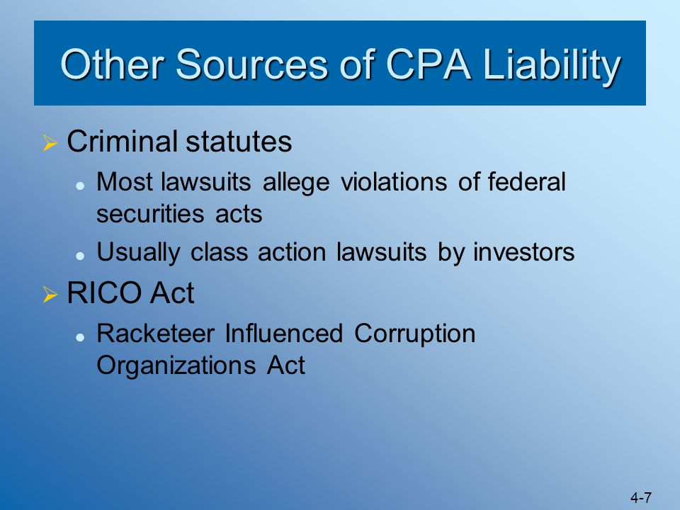 Other Sources of CPA Liability