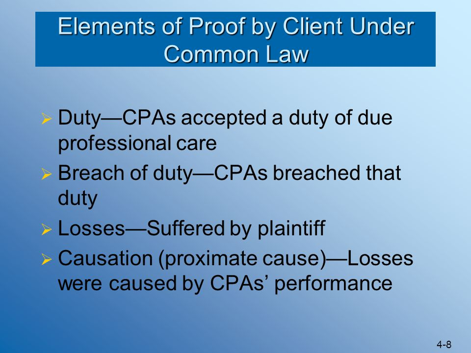 Elements of Proof by Client Under Common Law