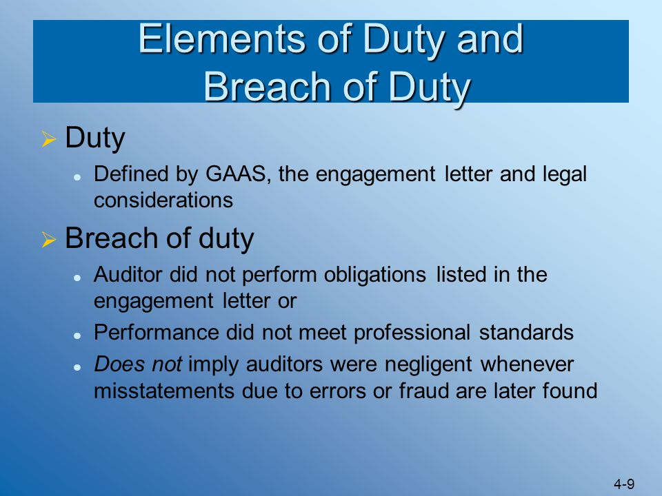 Elements of Duty and Breach of Duty