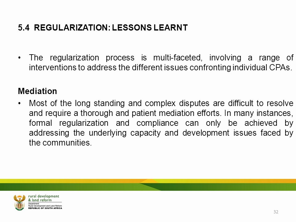 5.4 REGULARIZATION: LESSONS LEARNT