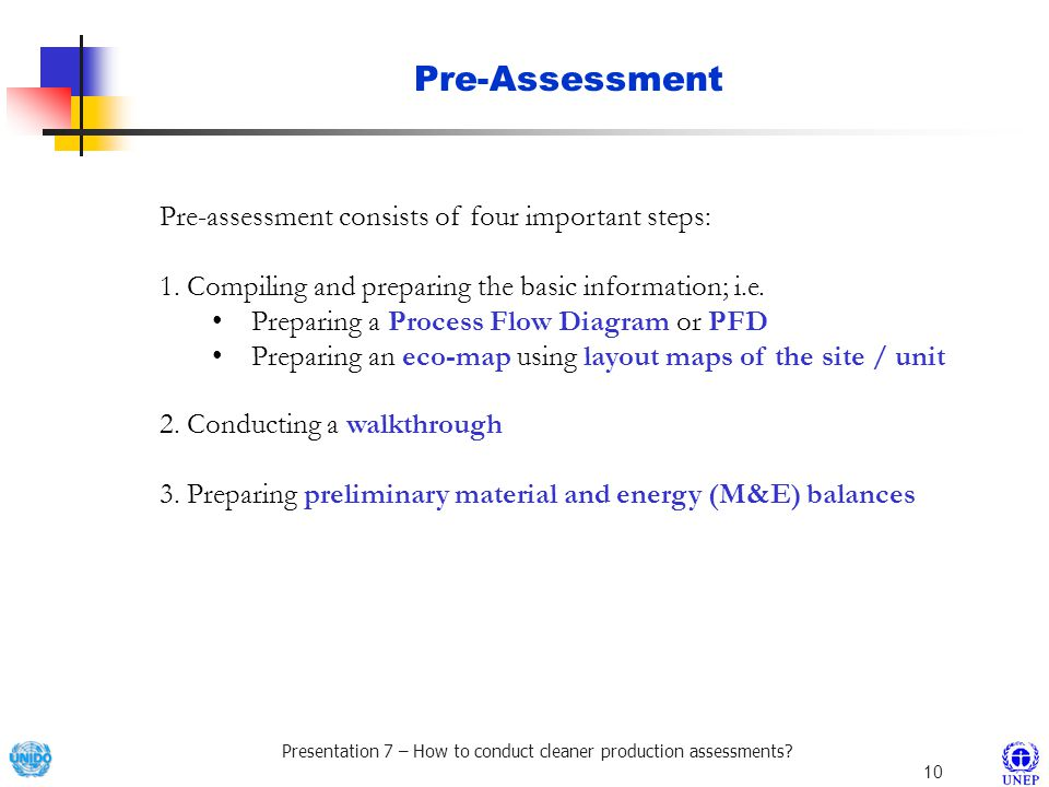 Pre-Assessment Pre-assessment consists of four important steps: