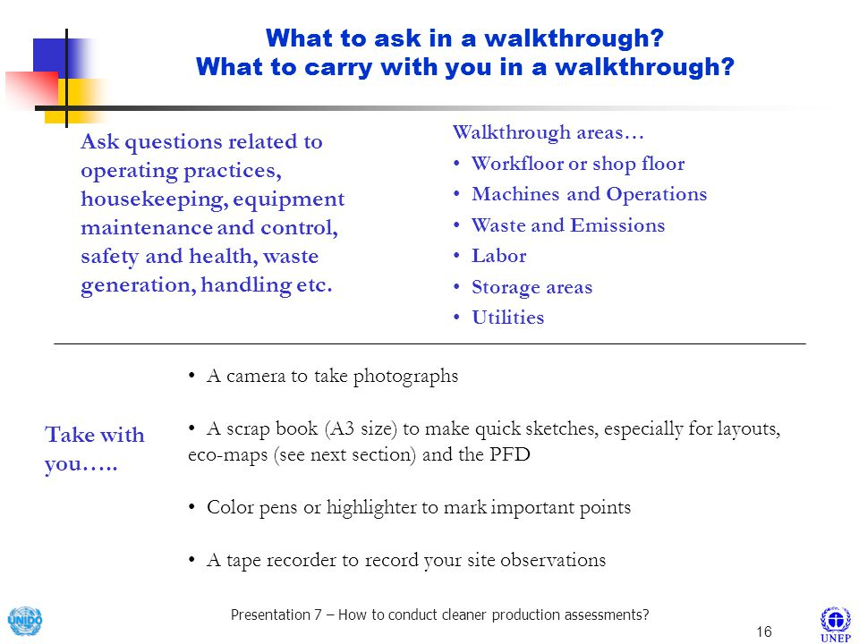 What to ask in a walkthrough What to carry with you in a walkthrough