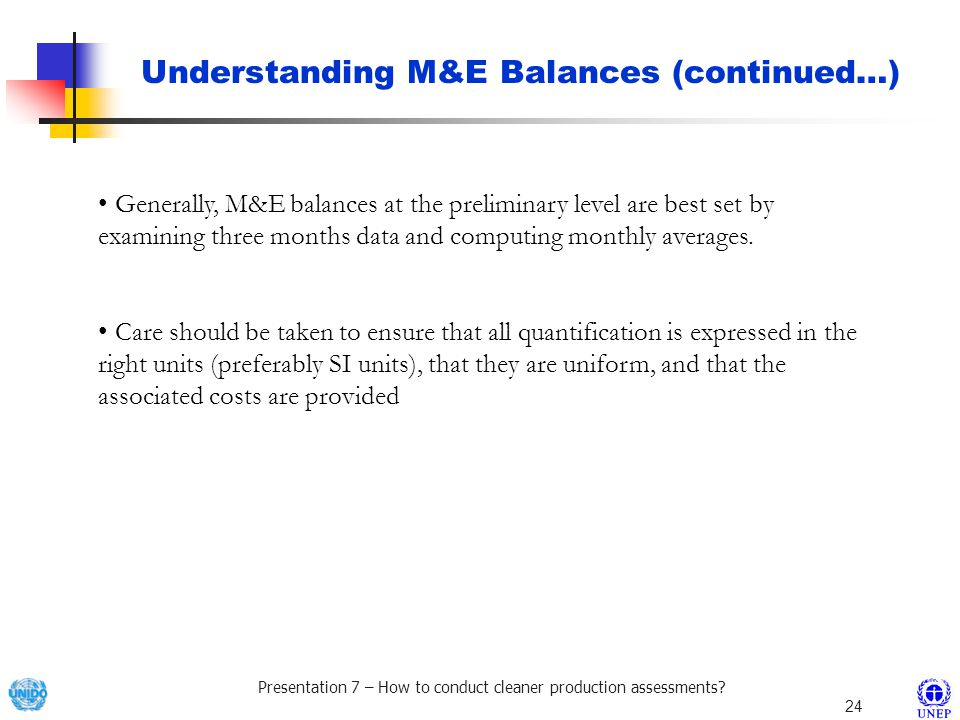 Understanding M&E Balances (continued…)