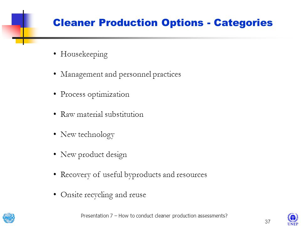 Cleaner Production Options - Categories