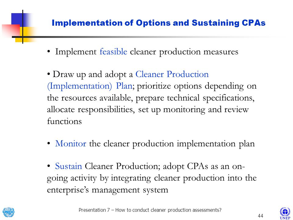 Implementation of Options and Sustaining CPAs
