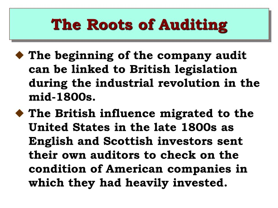The Roots of Auditing