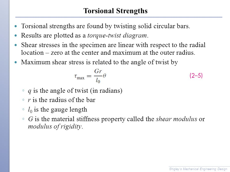Torsional Strengths Torsional strengths are found by twisting solid circular bars. Results are plotted as a torque-twist diagram.