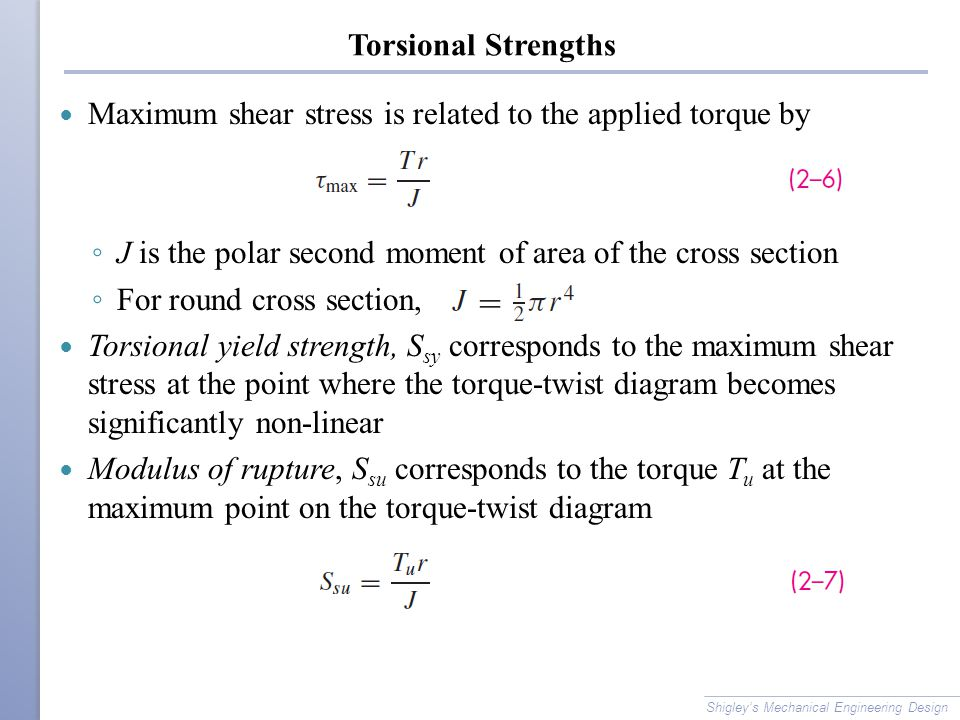 Maximum shear stress is related to the applied torque by