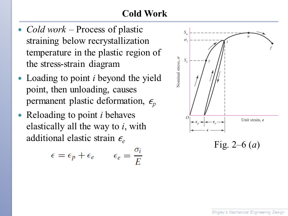 Cold Work Cold work – Process of plastic straining below recrystallization temperature in the plastic region of the stress-strain diagram.