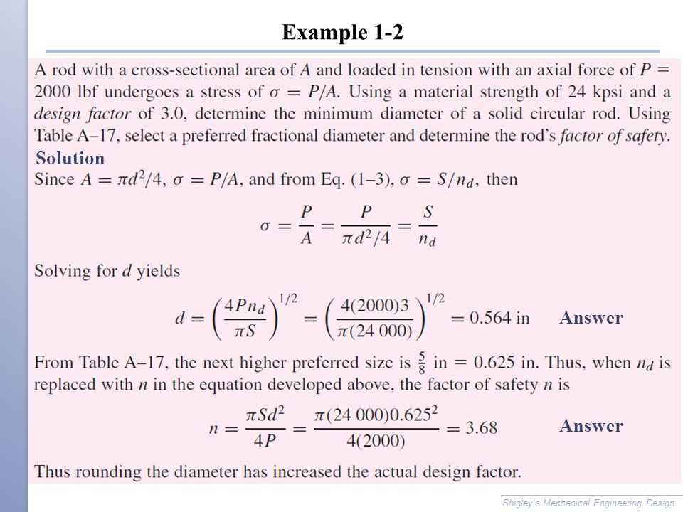 Example 1-2 Solution Answer Answer