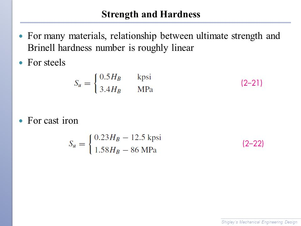 Strength and Hardness For many materials, relationship between ultimate strength and Brinell hardness number is roughly linear.