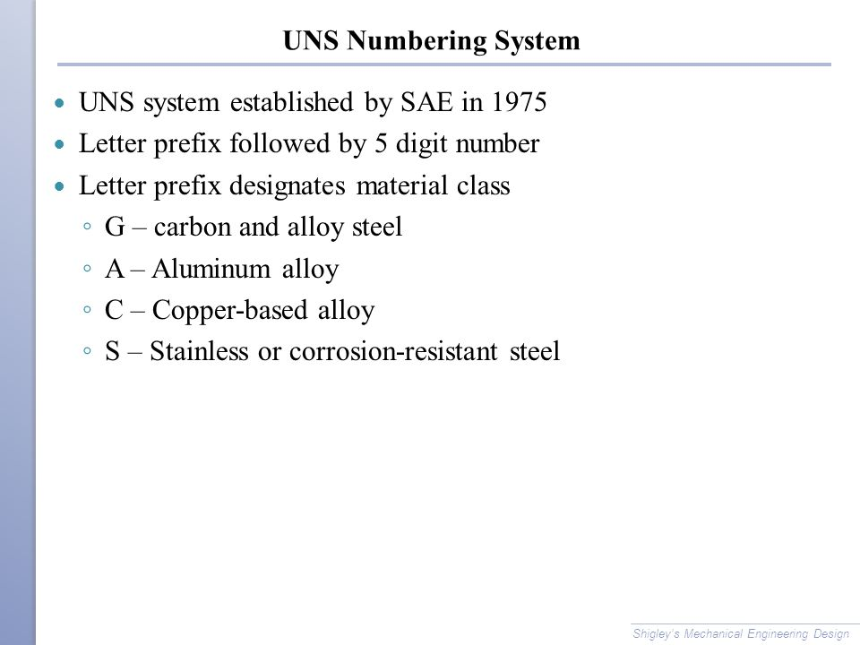UNS system established by SAE in 1975