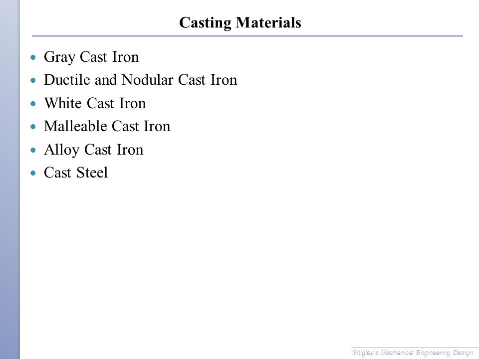 Ductile and Nodular Cast Iron White Cast Iron Malleable Cast Iron