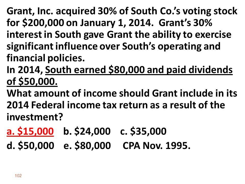 Grant, Inc. acquired 30% of South Co