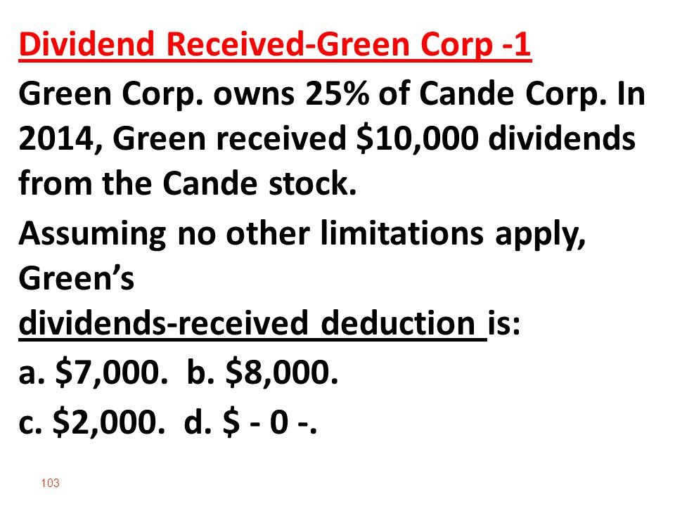 Dividend Received-Green Corp -1