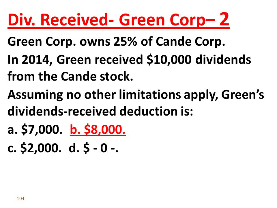 Div. Received- Green Corp– 2