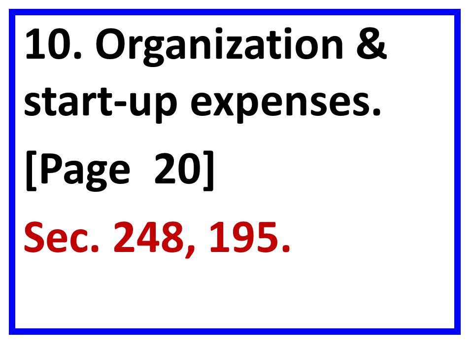 10. Organization & start-up expenses.