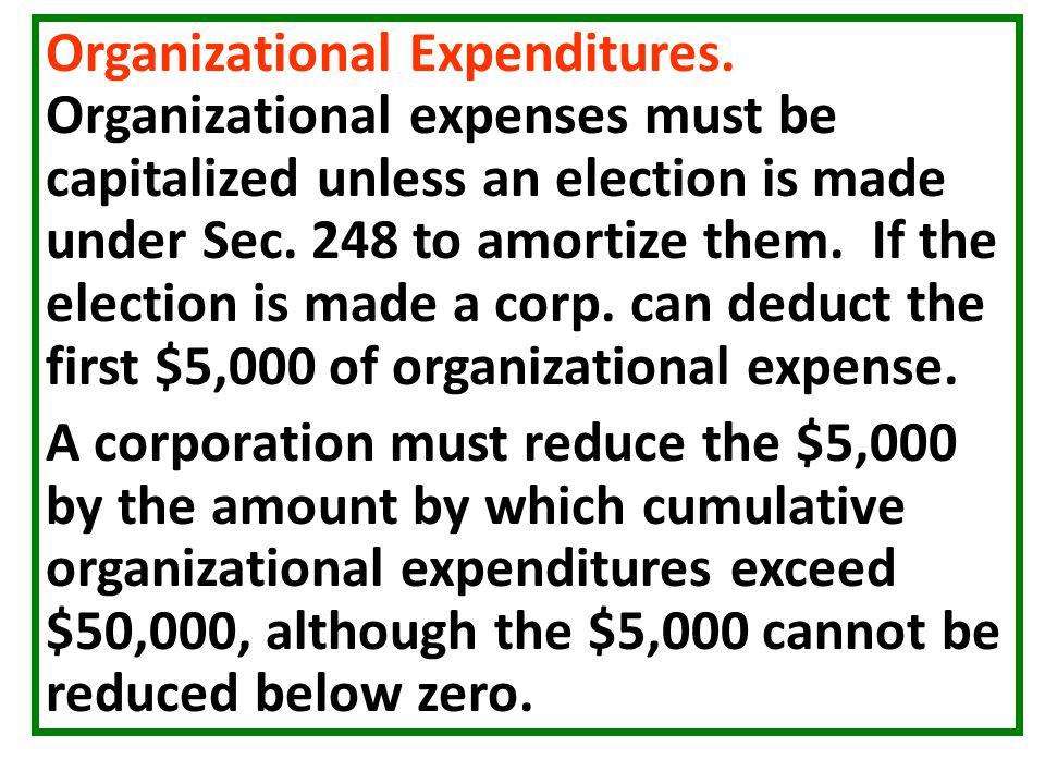 Organizational Expenditures