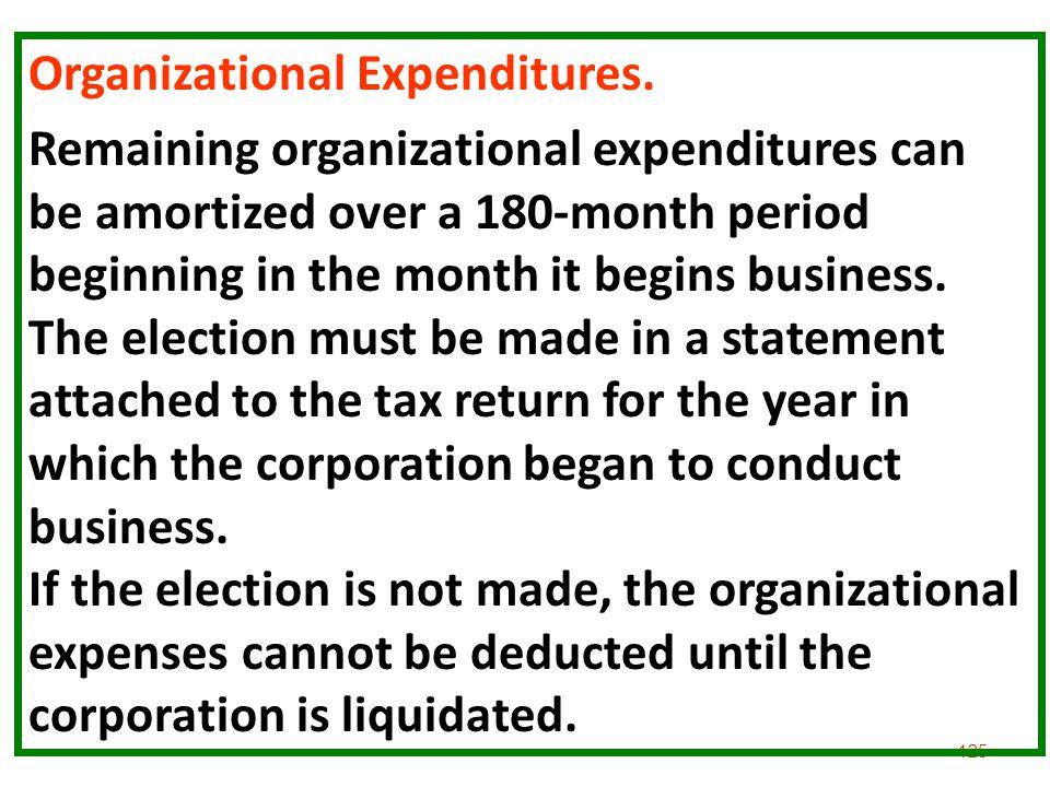 Organizational Expenditures.
