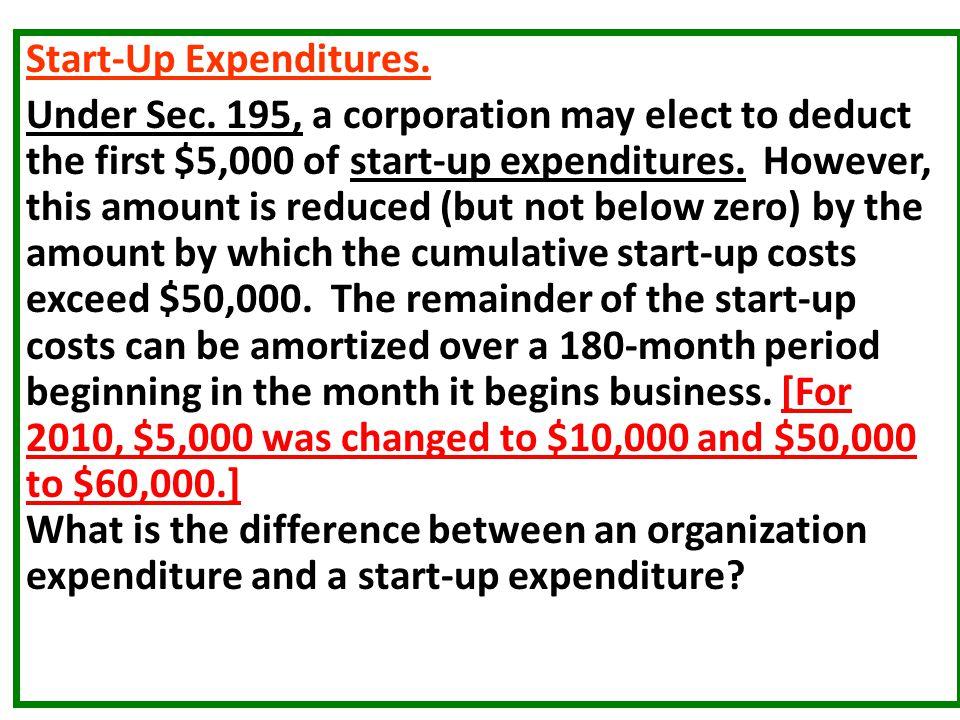 Start-Up Expenditures.