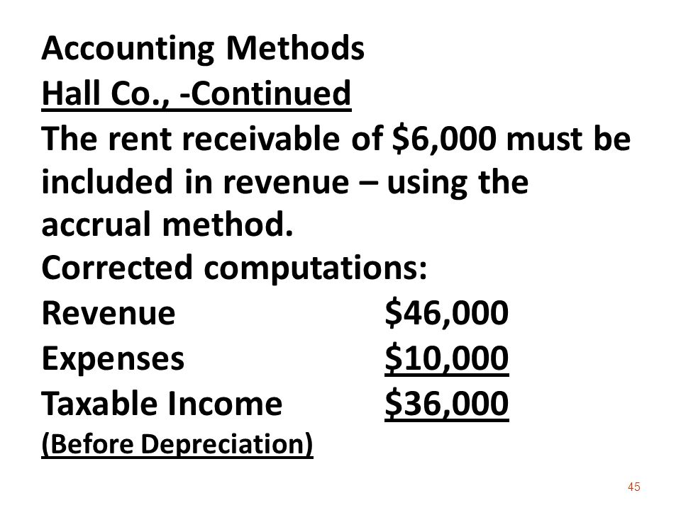 Accounting Methods Hall Co., -Continued