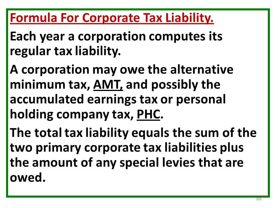 Formula For Corporate Tax Liability.