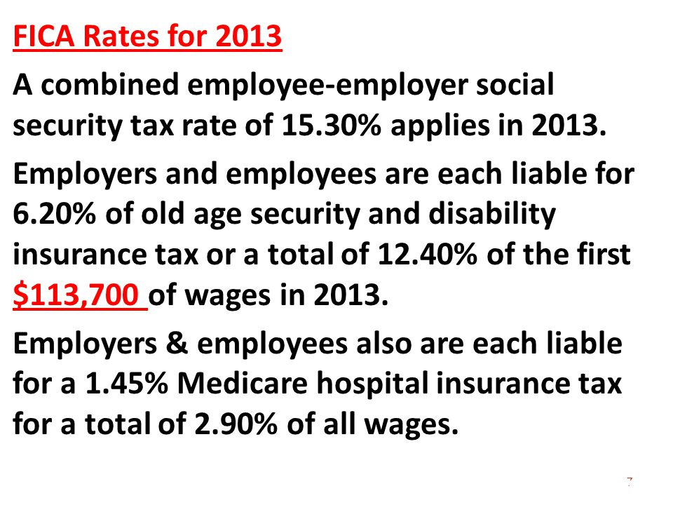 FICA Rates for 2013 A combined employee-employer social security tax rate of 15.30% applies in 2013.