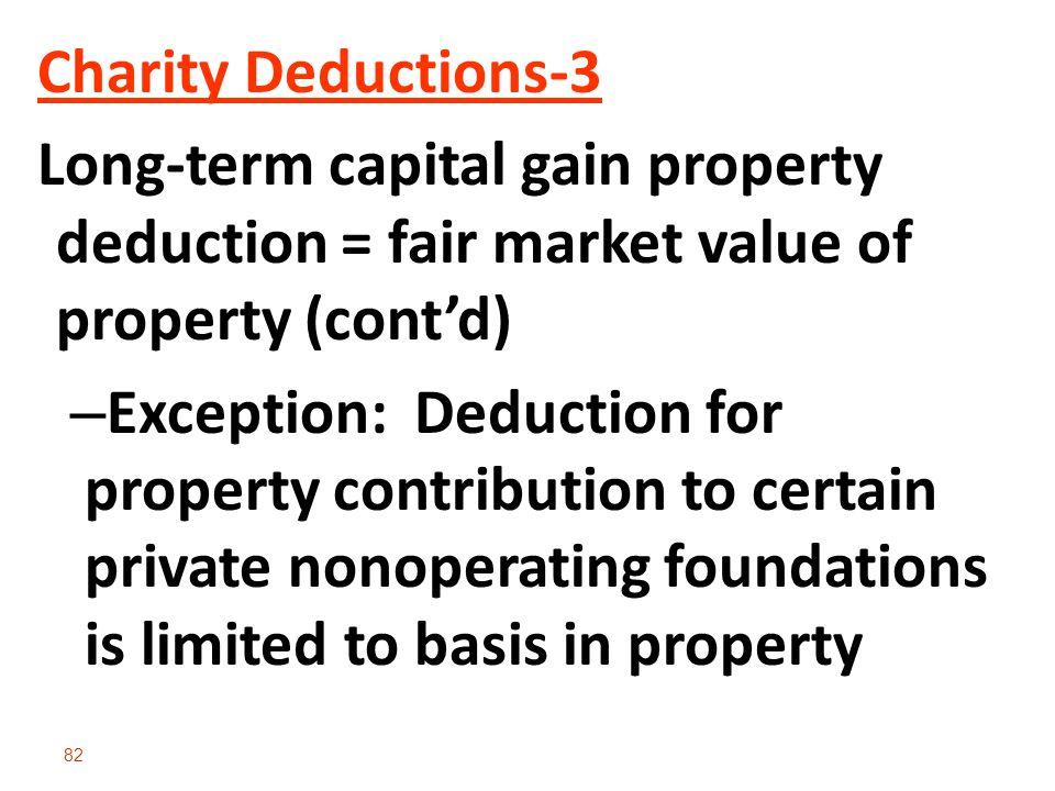 Charity Deductions-3 Long-term capital gain property deduction = fair market value of property (cont'd)