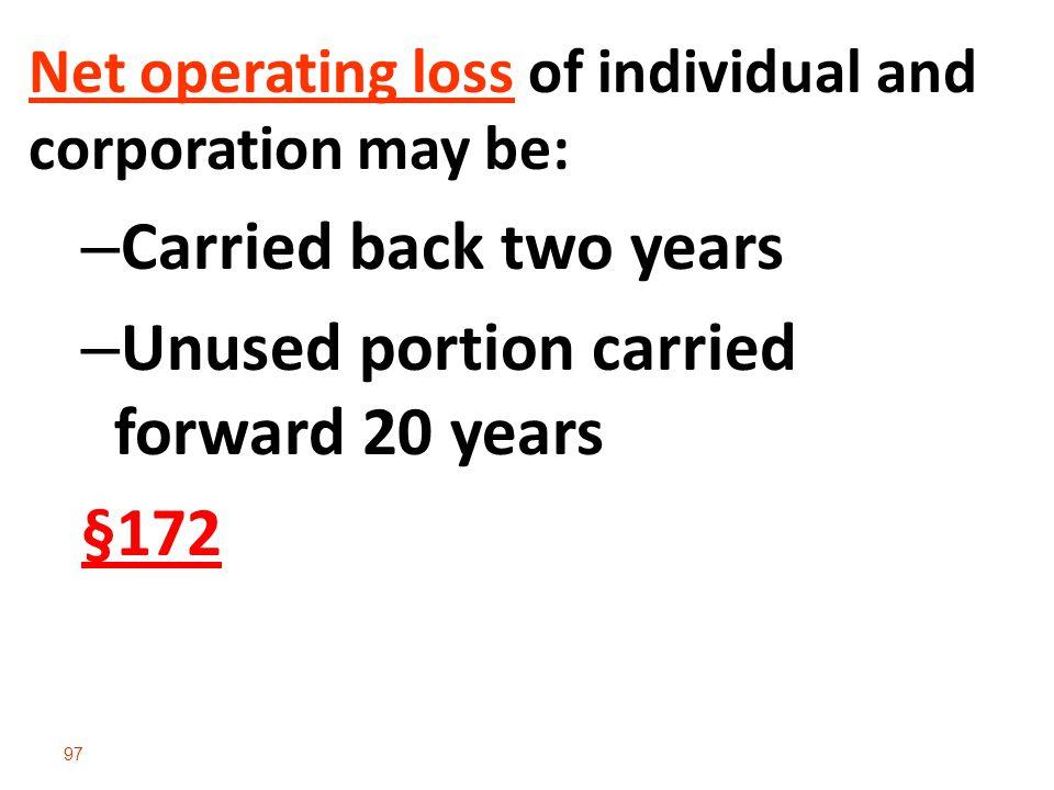 Unused portion carried forward 20 years §172