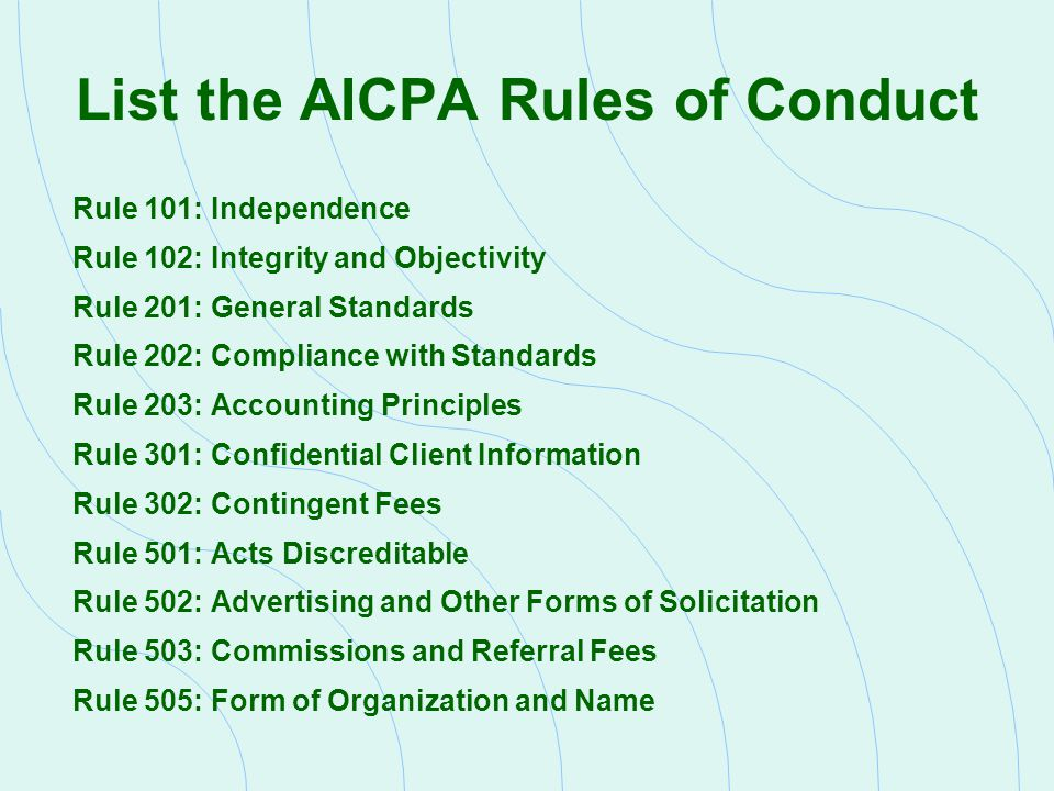 List the AICPA Rules of Conduct