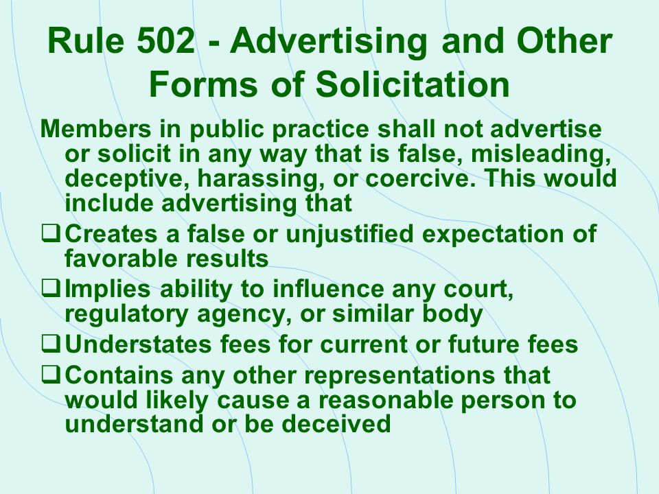 Rule 502 - Advertising and Other Forms of Solicitation