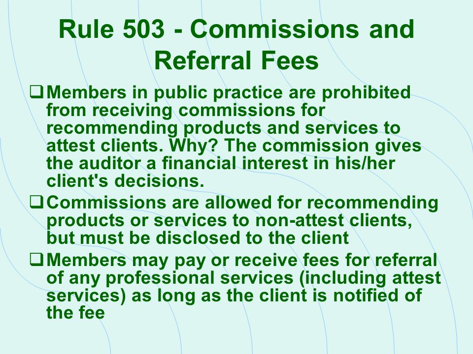 Rule 503 - Commissions and Referral Fees