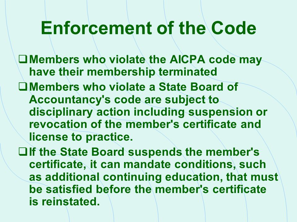 Enforcement of the Code