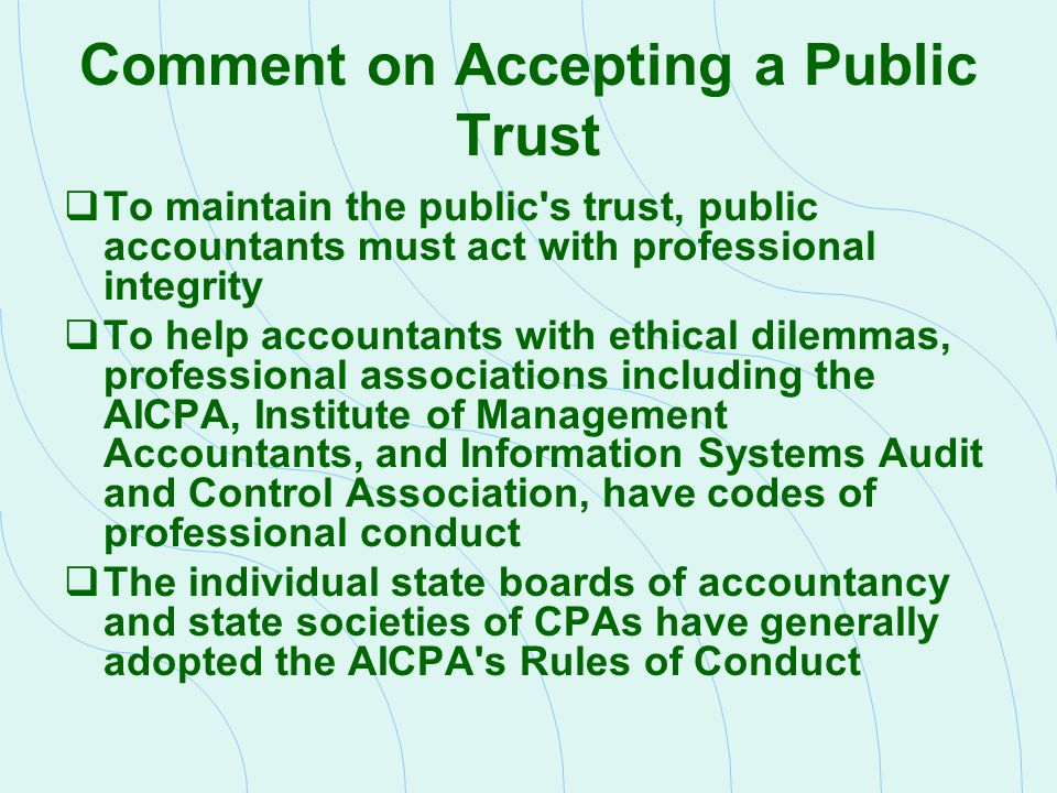 Comment on Accepting a Public Trust