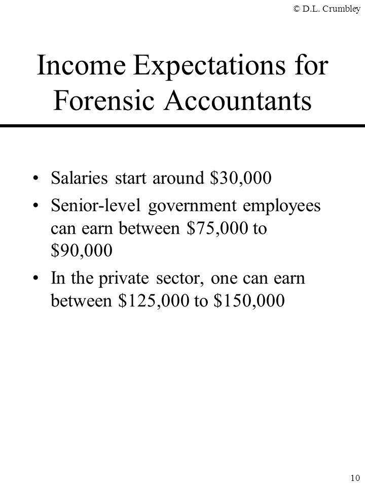 Income Expectations for Forensic Accountants
