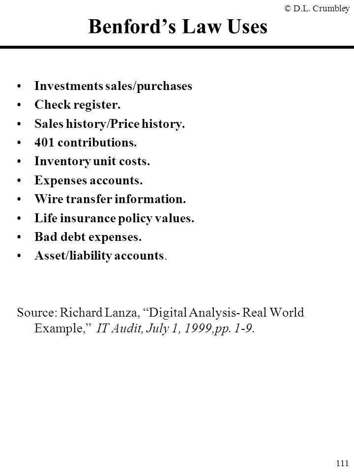 Benford's Law Uses Investments sales/purchases Check register.
