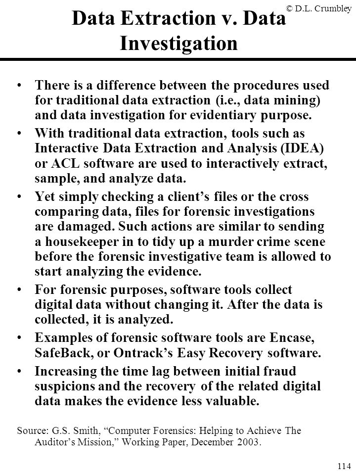 Data Extraction v. Data Investigation