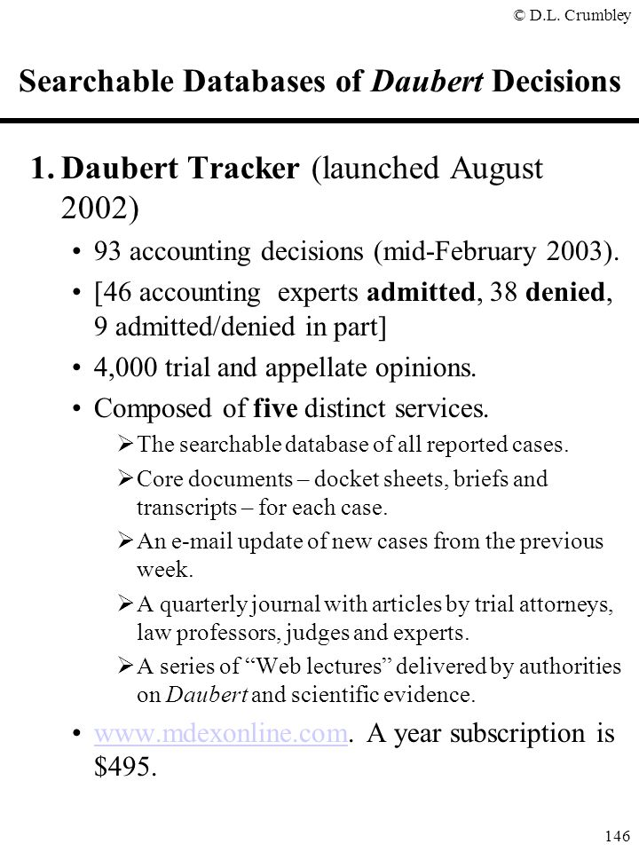 Searchable Databases of Daubert Decisions