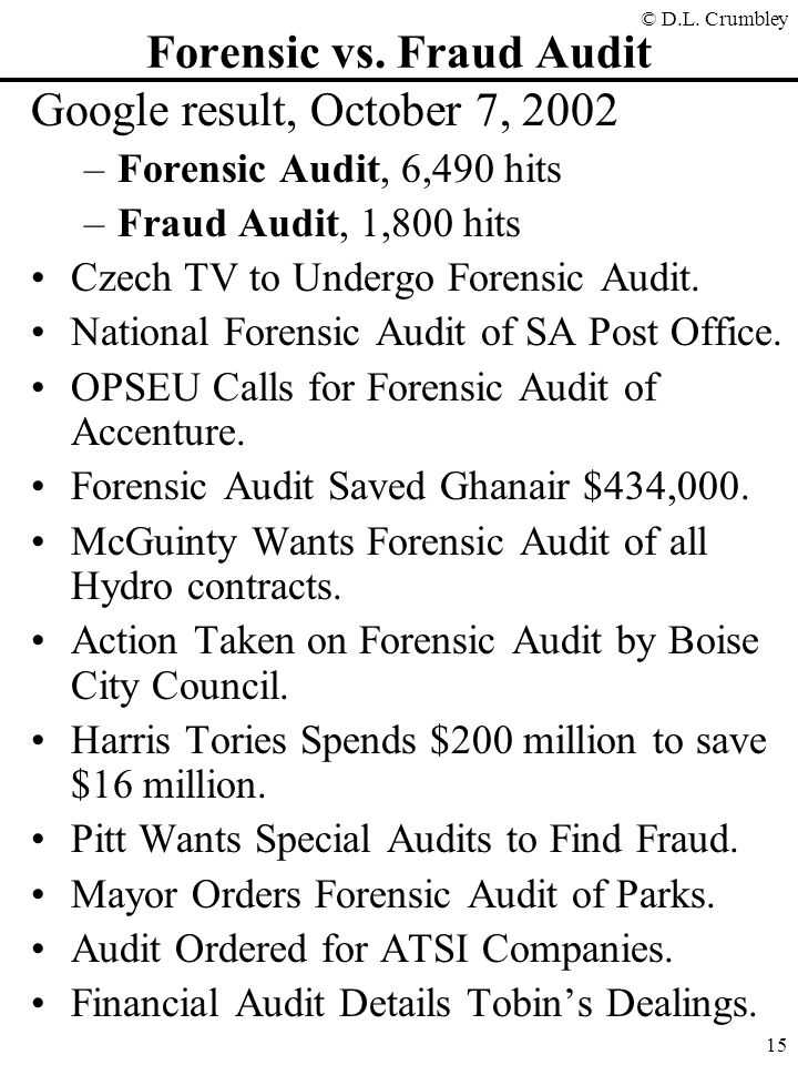 Forensic vs. Fraud Audit