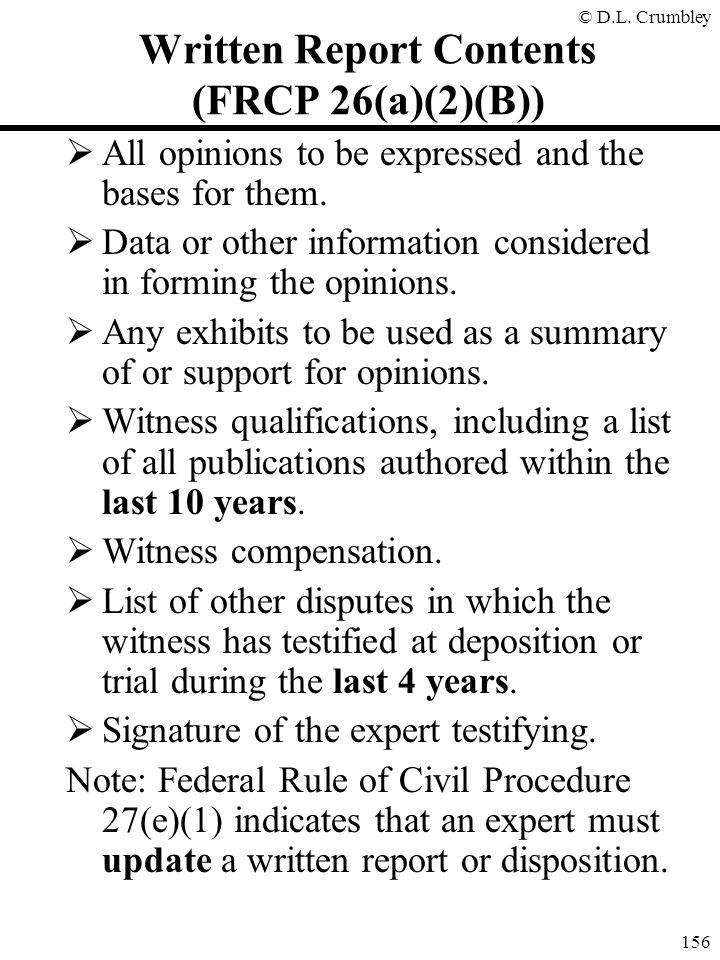 Written Report Contents (FRCP 26(a)(2)(B))