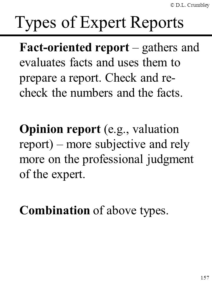 Types of Expert Reports