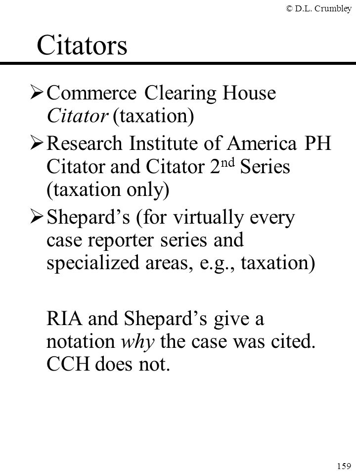 Citators Commerce Clearing House Citator (taxation)