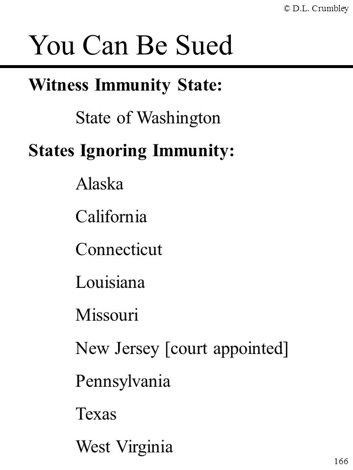 You Can Be Sued Witness Immunity State: State of Washington