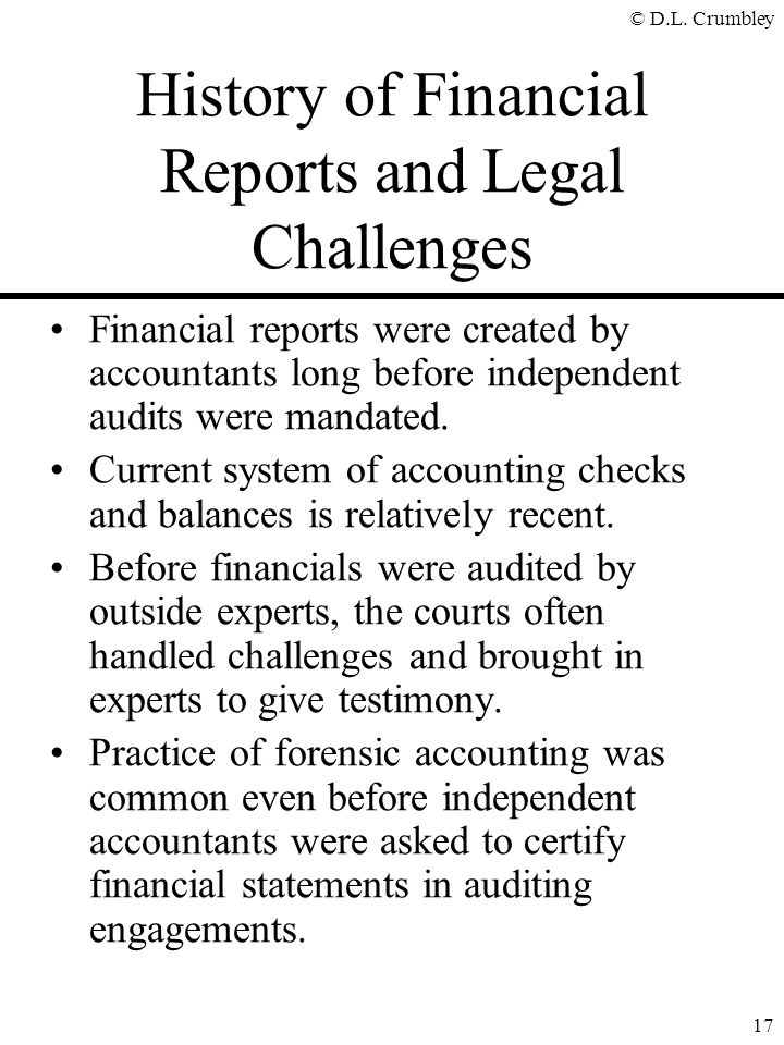 History of Financial Reports and Legal Challenges