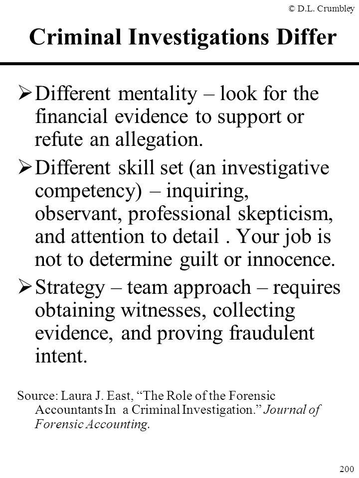 Criminal Investigations Differ