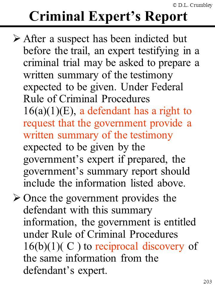 Criminal Expert's Report
