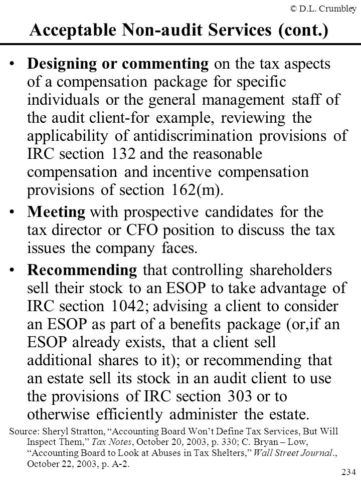 Acceptable Non-audit Services (cont.)