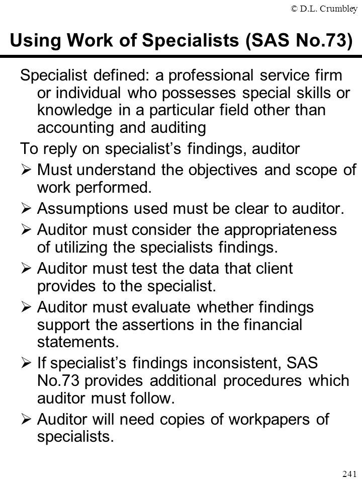 Using Work of Specialists (SAS No.73)
