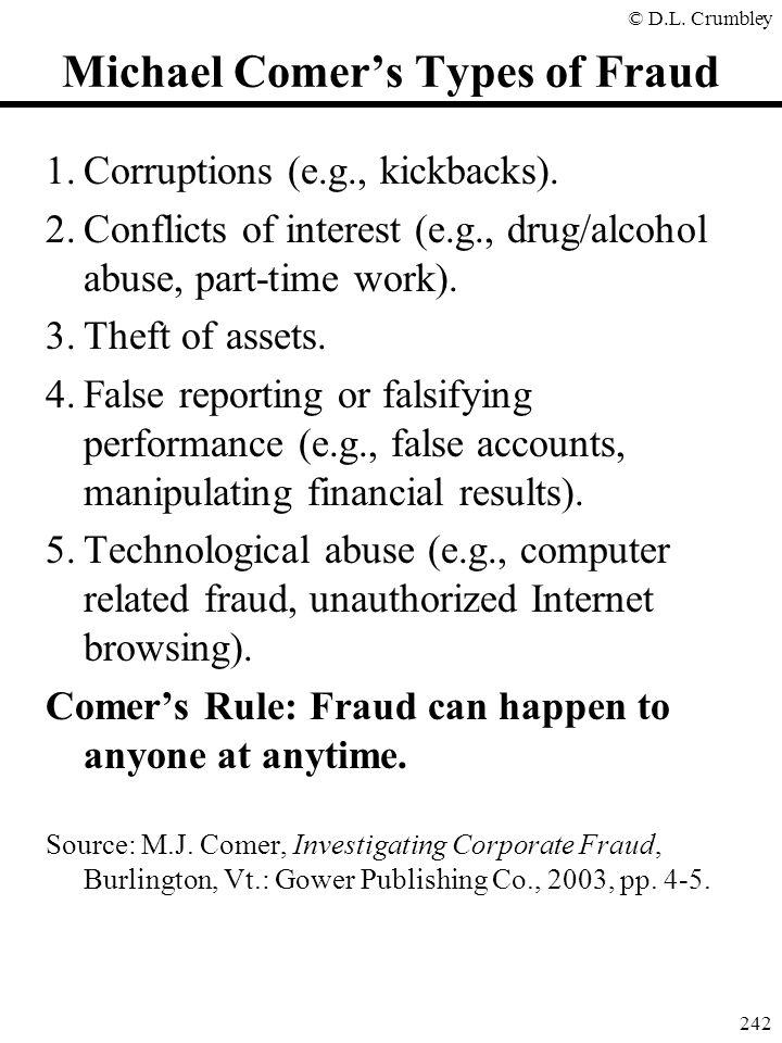 Michael Comer's Types of Fraud